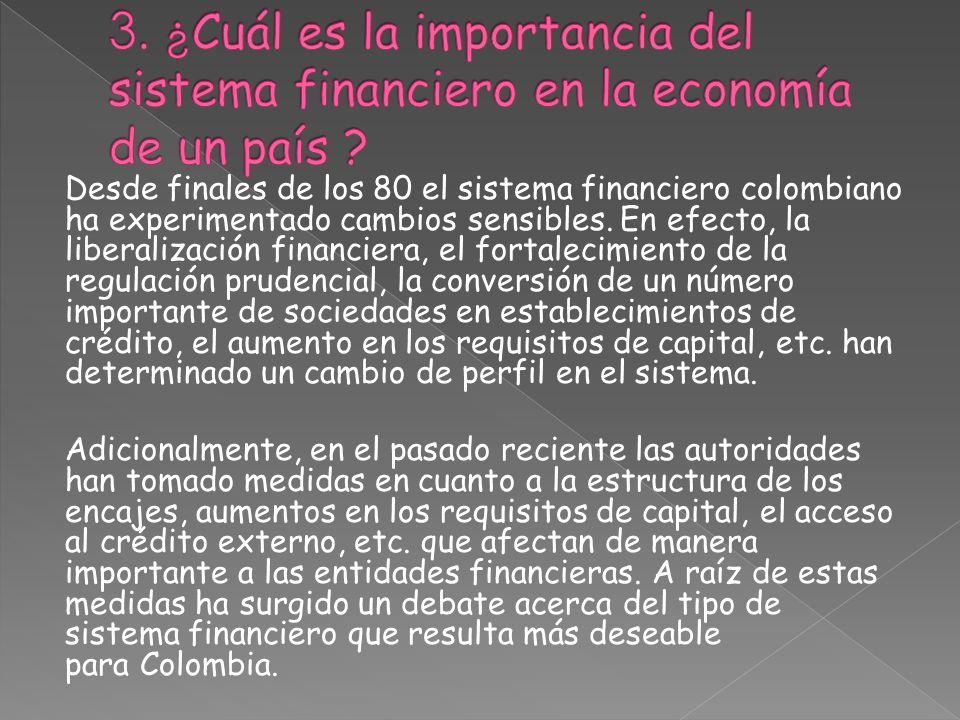 3. ¿Cuál es la importancia del sistema financiero en la economía de un país