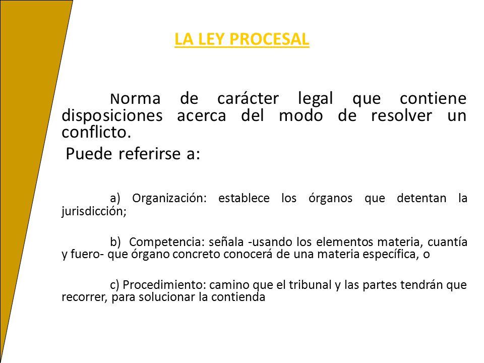 a) Organización: establece los órganos que detentan la jurisdicción;