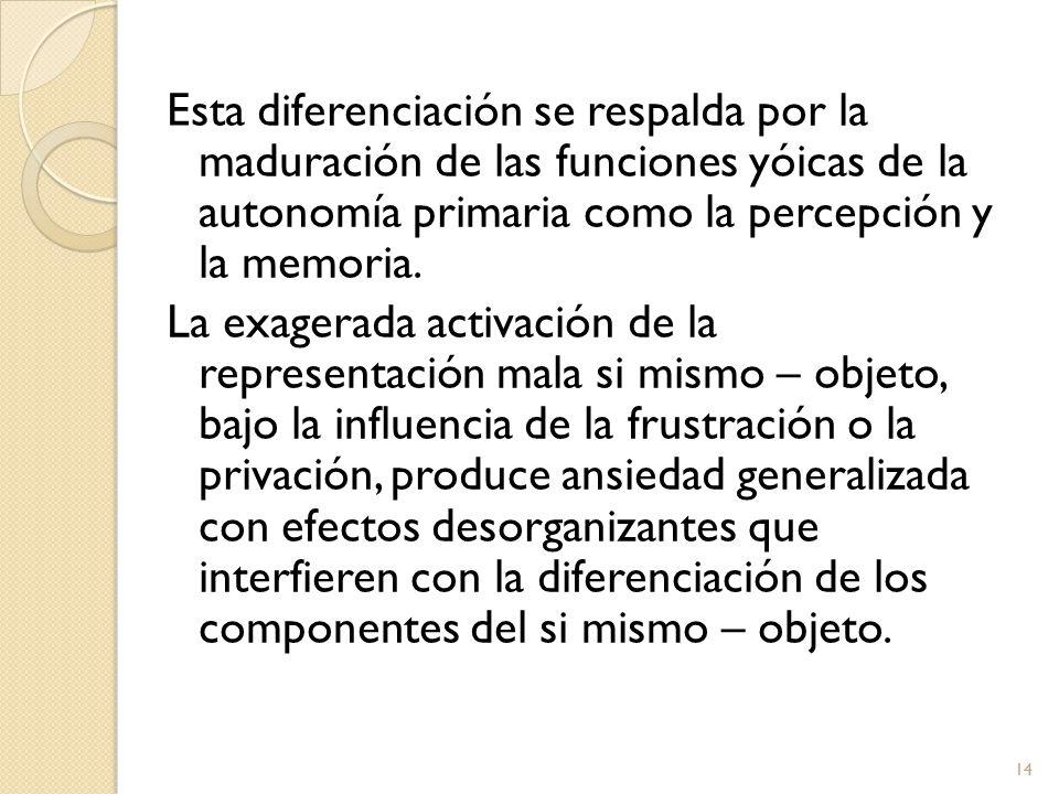 Esta diferenciación se respalda por la maduración de las funciones yóicas de la autonomía primaria como la percepción y la memoria.