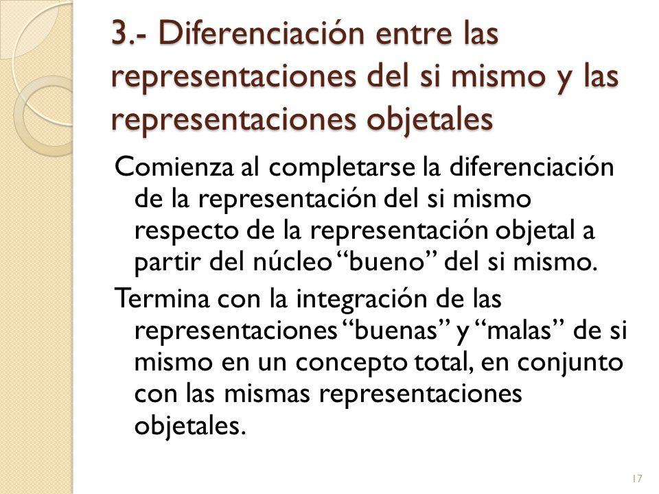 3.- Diferenciación entre las representaciones del si mismo y las representaciones objetales