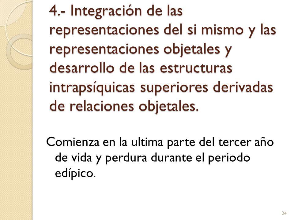 4.- Integración de las representaciones del si mismo y las representaciones objetales y desarrollo de las estructuras intrapsíquicas superiores derivadas de relaciones objetales.