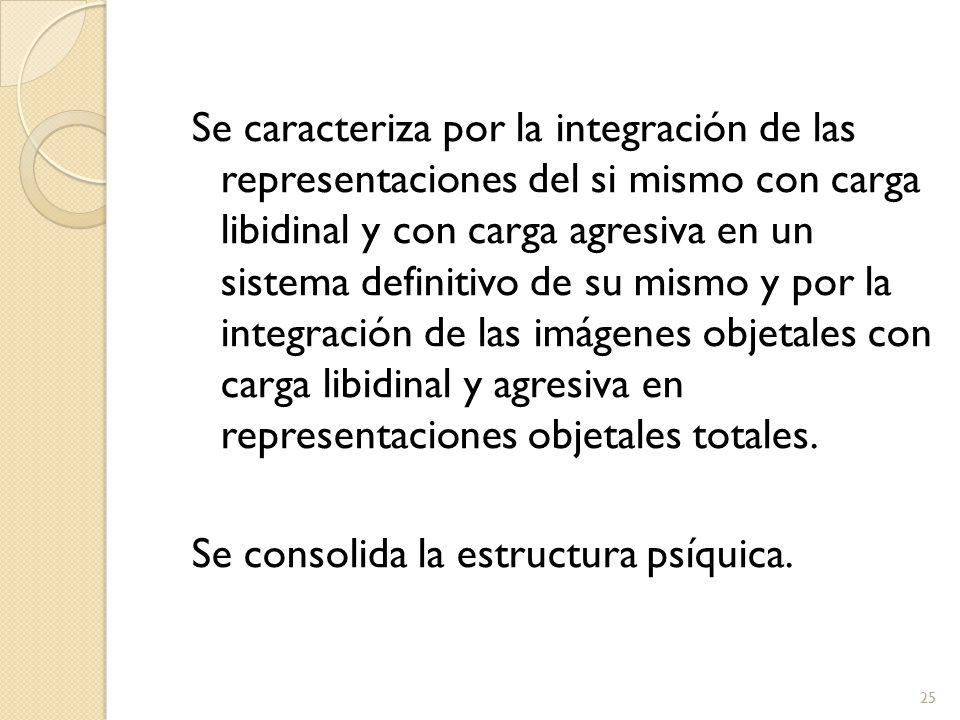 Se caracteriza por la integración de las representaciones del si mismo con carga libidinal y con carga agresiva en un sistema definitivo de su mismo y por la integración de las imágenes objetales con carga libidinal y agresiva en representaciones objetales totales.