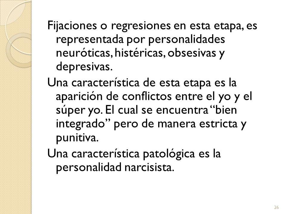 Fijaciones o regresiones en esta etapa, es representada por personalidades neuróticas, histéricas, obsesivas y depresivas.