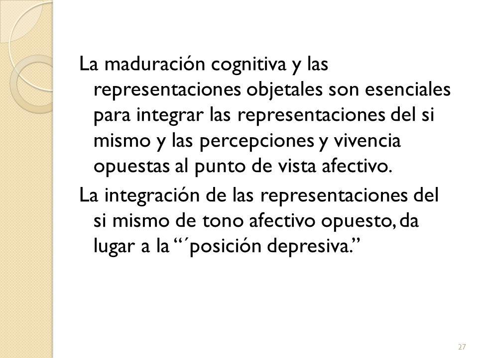 La maduración cognitiva y las representaciones objetales son esenciales para integrar las representaciones del si mismo y las percepciones y vivencia opuestas al punto de vista afectivo.