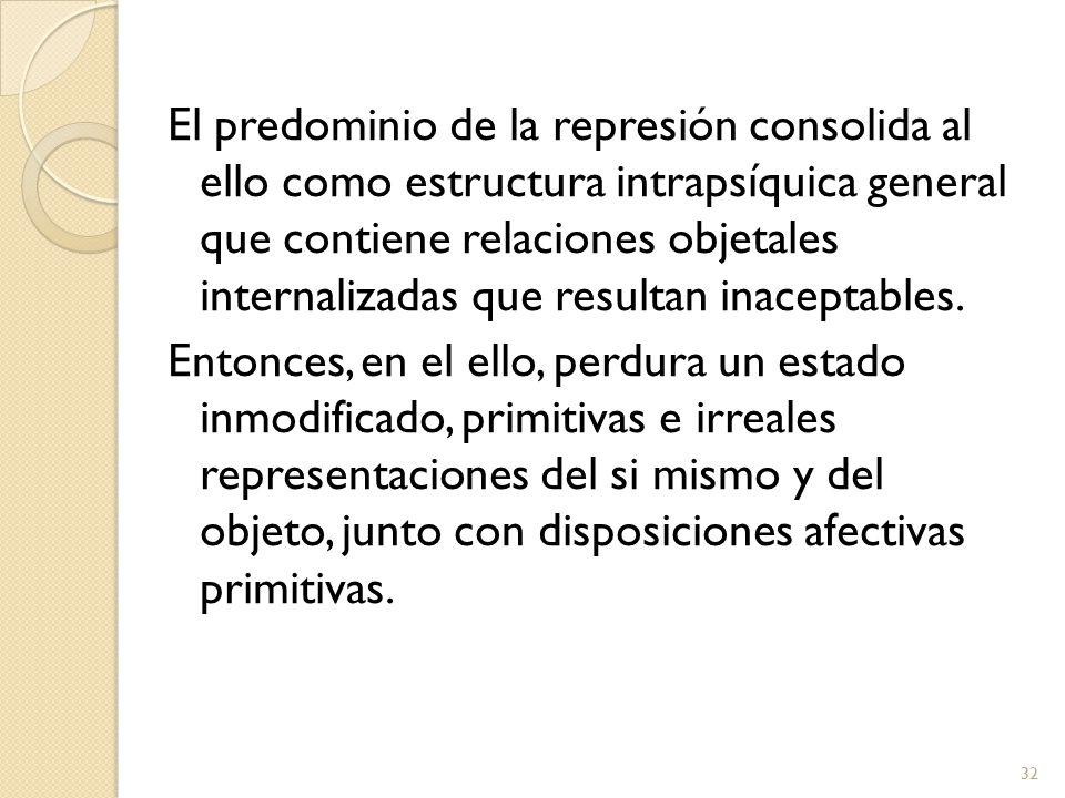 El predominio de la represión consolida al ello como estructura intrapsíquica general que contiene relaciones objetales internalizadas que resultan inaceptables.