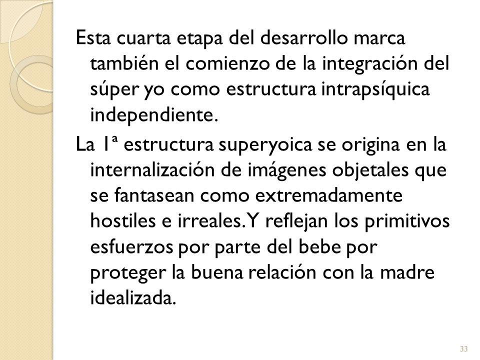Esta cuarta etapa del desarrollo marca también el comienzo de la integración del súper yo como estructura intrapsíquica independiente.