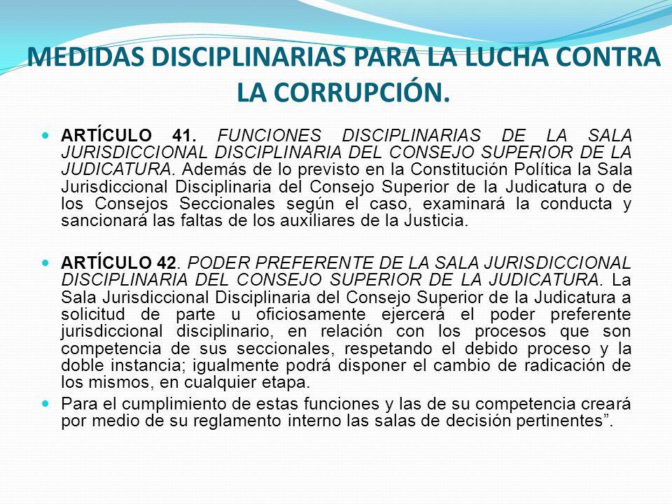 MEDIDAS DISCIPLINARIAS PARA LA LUCHA CONTRA LA CORRUPCIÓN.