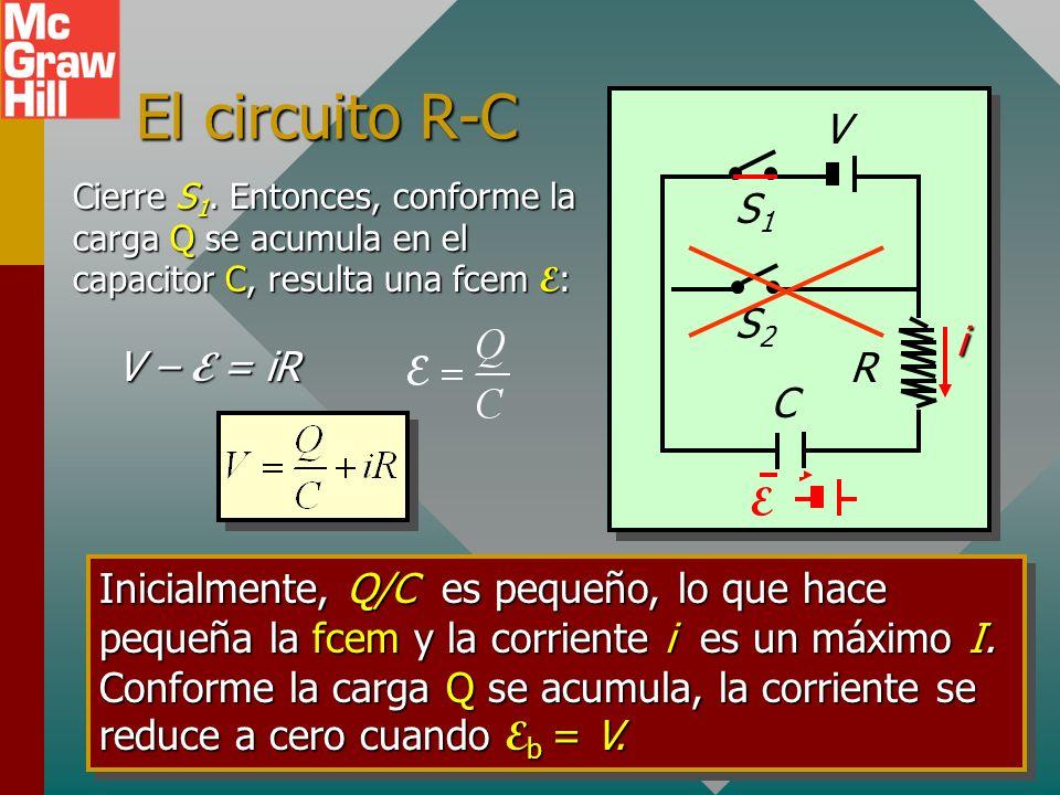 El circuito R-C V S1 E S2 i V – E = iR R C