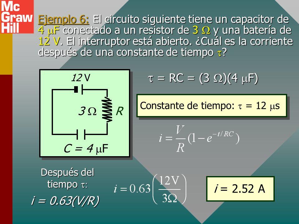 t = RC = (3 W)(4 mF) 3 W C = 4 mF R i = 0.63(V/R) i = 2.52 A