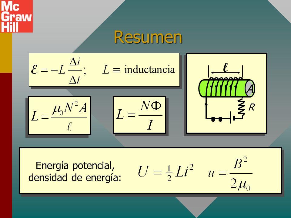 Resumen inductancia R l A Energía potencial, densidad de energía: