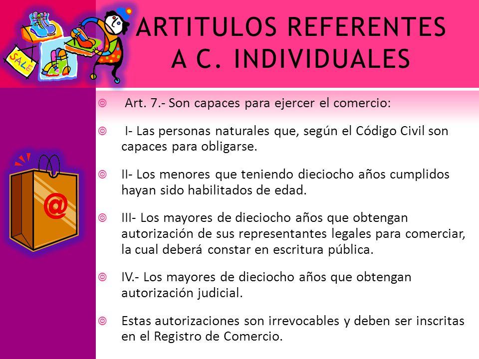 ARTITULOS REFERENTES A C. INDIVIDUALES