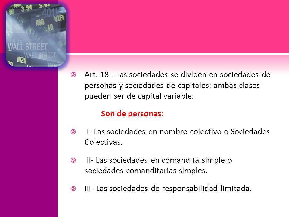 Art. 18.- Las sociedades se dividen en sociedades de personas y sociedades de capitales; ambas clases pueden ser de capital variable.