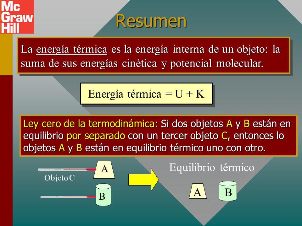 ResumenLa energía térmica es la energía interna de un objeto: la suma de sus energías cinética y potencial molecular.