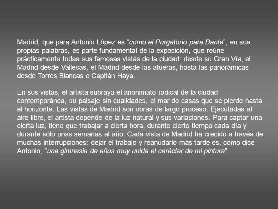 Madrid, que para Antonio López es como el Purgatorio para Dante , en sus propias palabras, es parte fundamental de la exposición, que reúne prácticamente todas sus famosas vistas de la ciudad: desde su Gran Vía, el Madrid desde Vallecas, el Madrid desde las afueras, hasta las panorámicas desde Torres Blancas o Capitán Haya.