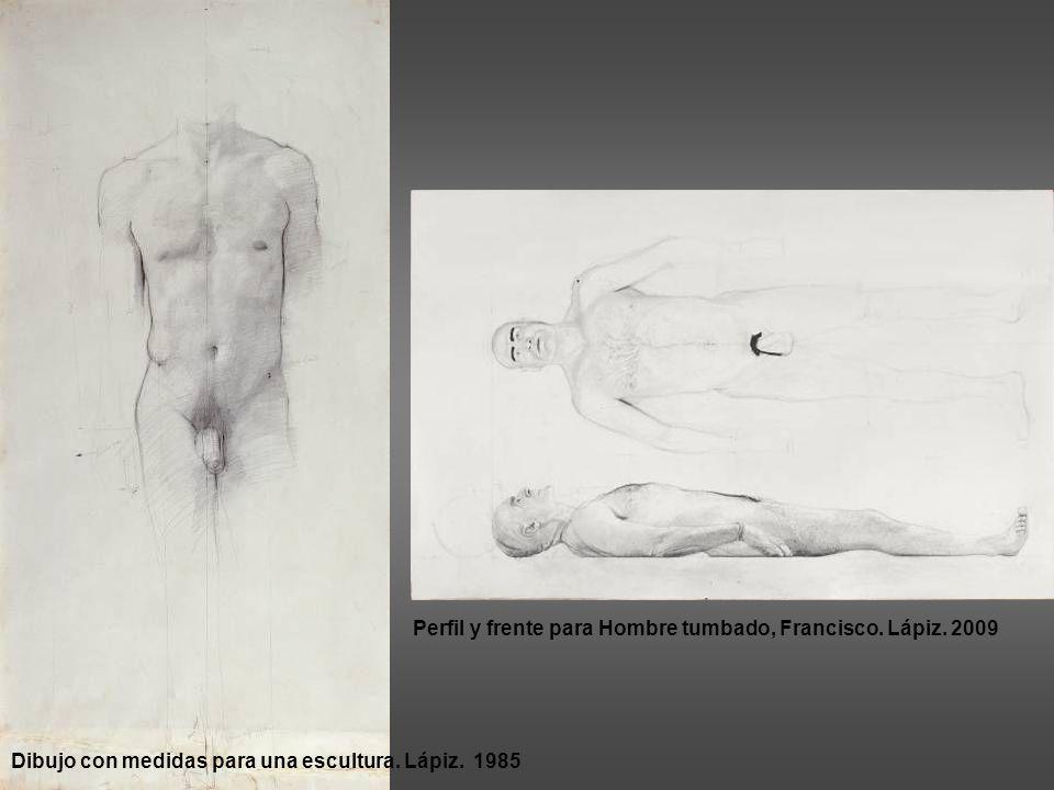 Perfil y frente para Hombre tumbado, Francisco. Lápiz. 2009