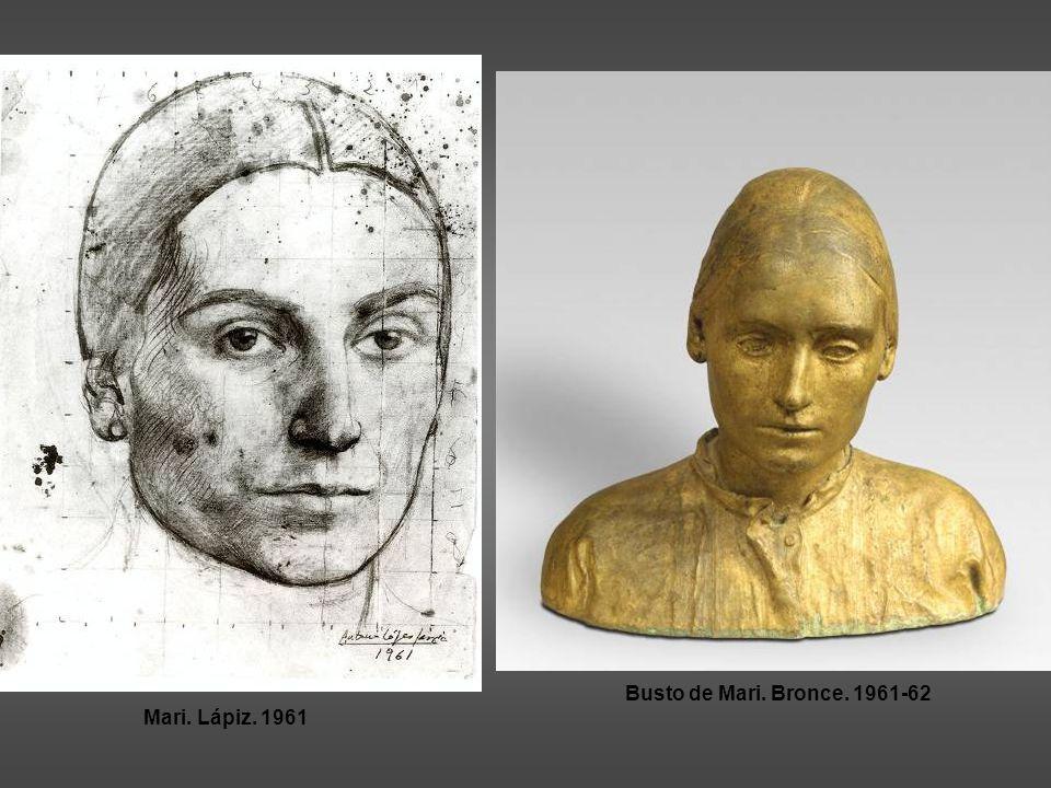 Busto de Mari. Bronce. 1961-62 Mari. Lápiz. 1961