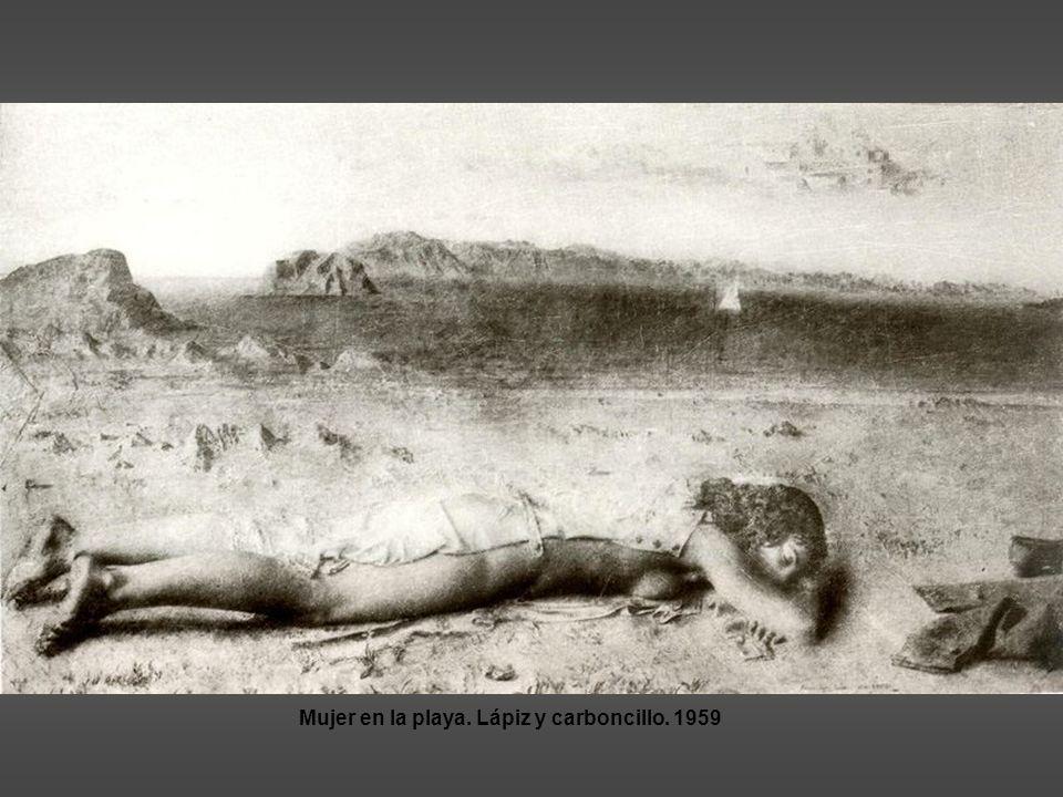 Mujer en la playa. Lápiz y carboncillo. 1959