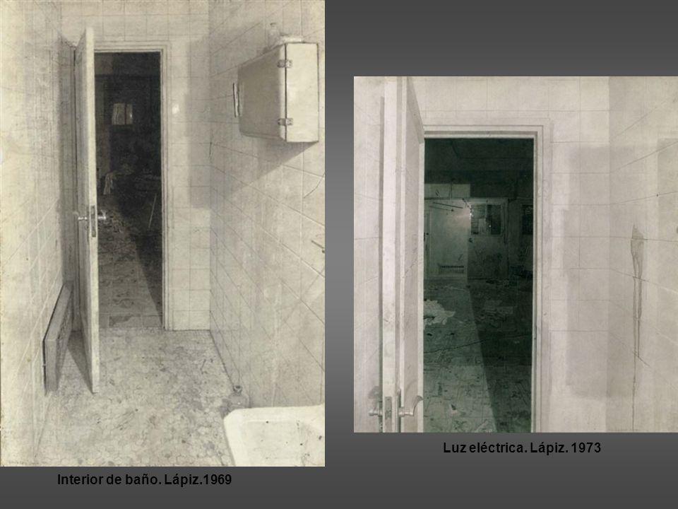 Luz eléctrica. Lápiz. 1973 Interior de baño. Lápiz.1969