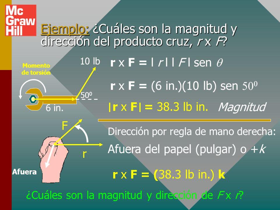 Ejemplo: ¿Cuáles son la magnitud y dirección del producto cruz, r x F