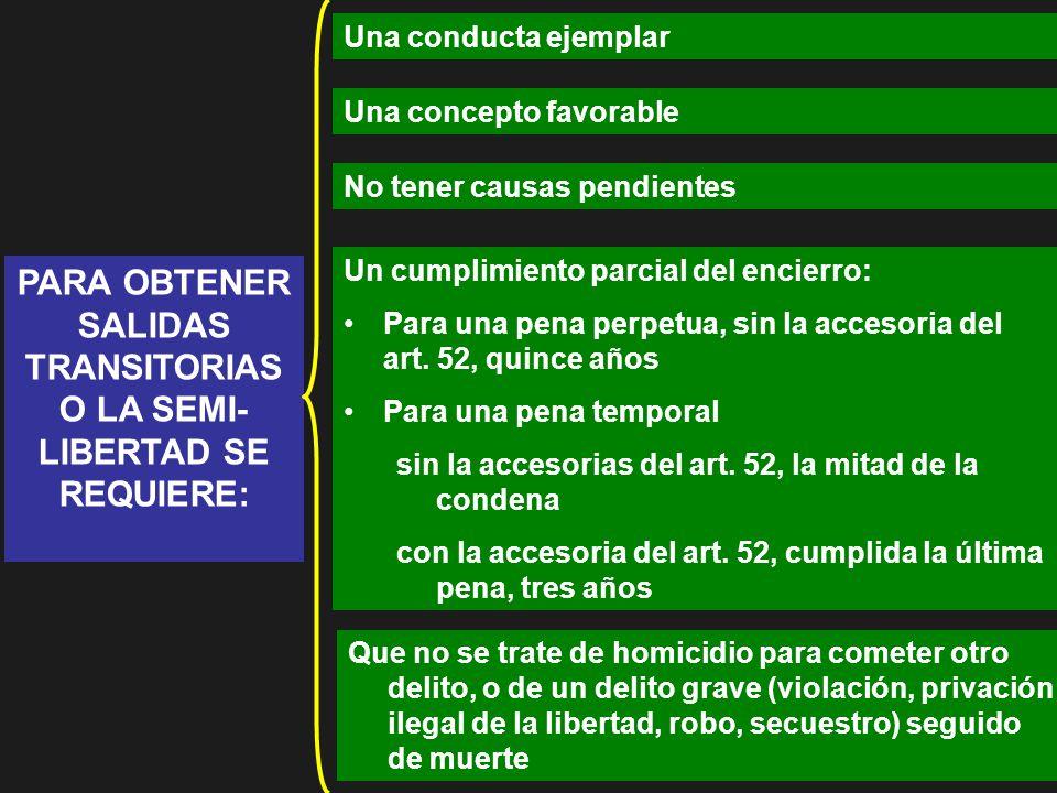 PARA OBTENER SALIDAS TRANSITORIAS O LA SEMI-LIBERTAD SE REQUIERE:
