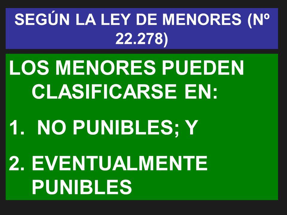 SEGÚN LA LEY DE MENORES (Nº 22.278)