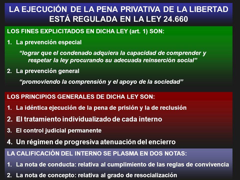 LA EJECUCIÓN DE LA PENA PRIVATIVA DE LA LIBERTAD ESTÁ REGULADA EN LA LEY 24.660
