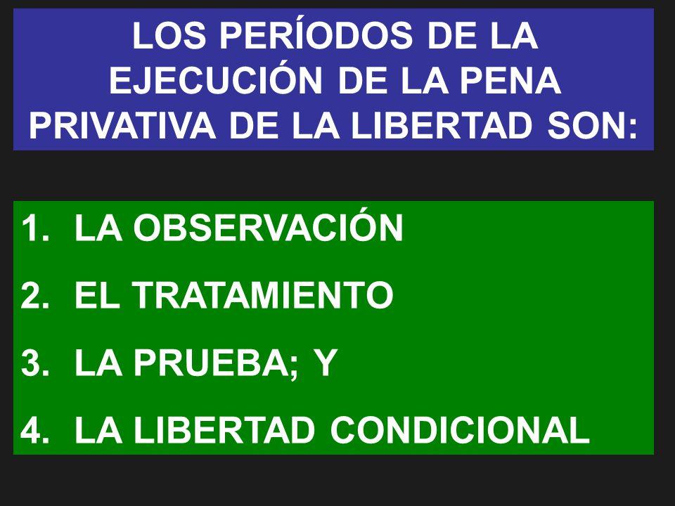 LOS PERÍODOS DE LA EJECUCIÓN DE LA PENA PRIVATIVA DE LA LIBERTAD SON: