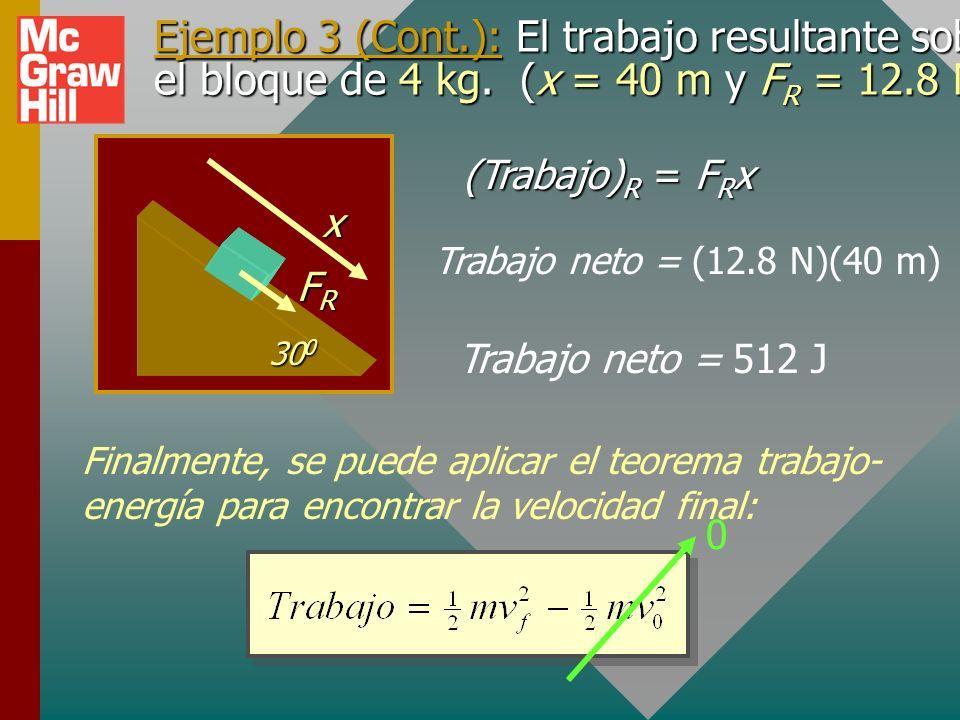 Ejemplo 3 (Cont. ): El trabajo resultante sobre el bloque de 4 kg