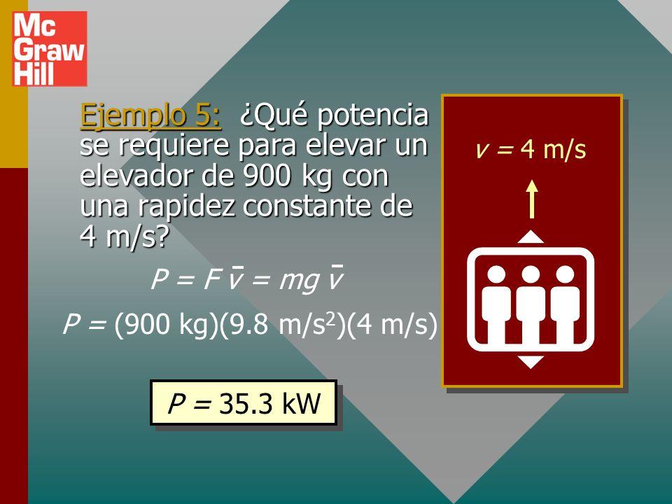 v = 4 m/s Ejemplo 5: ¿Qué potencia se requiere para elevar un elevador de 900 kg con una rapidez constante de 4 m/s