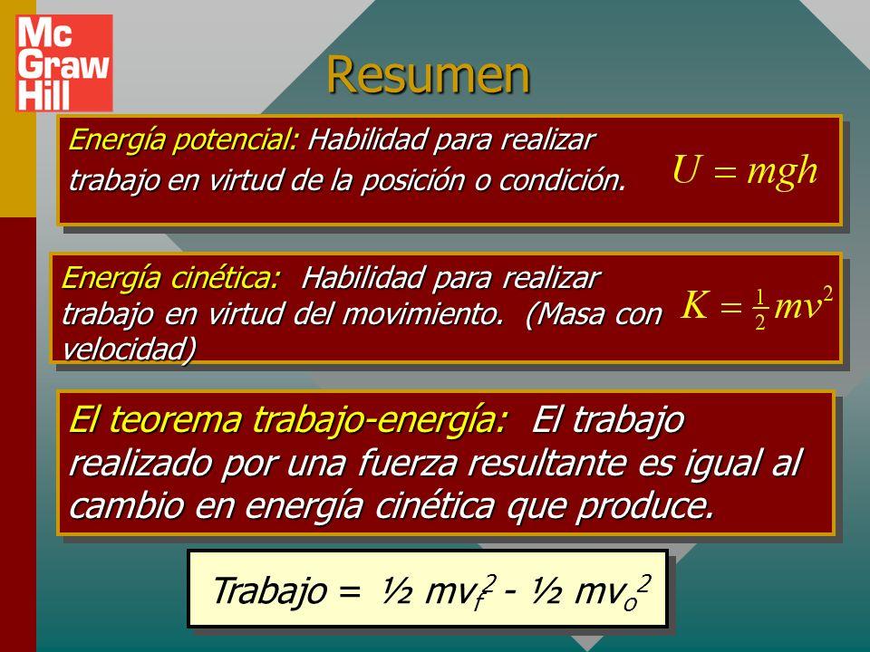 Resumen Energía potencial: Habilidad para realizar trabajo en virtud de la posición o condición.