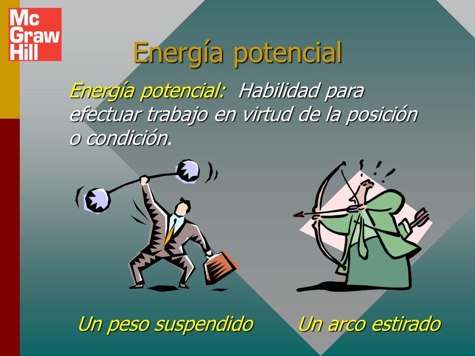 Energía potencial Energía potencial: Habilidad para efectuar trabajo en virtud de la posición o condición.