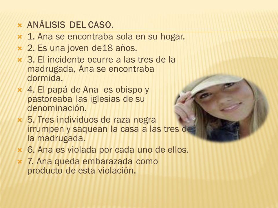 ANÁLISIS DEL CASO. 1. Ana se encontraba sola en su hogar. 2. Es una joven de18 años.