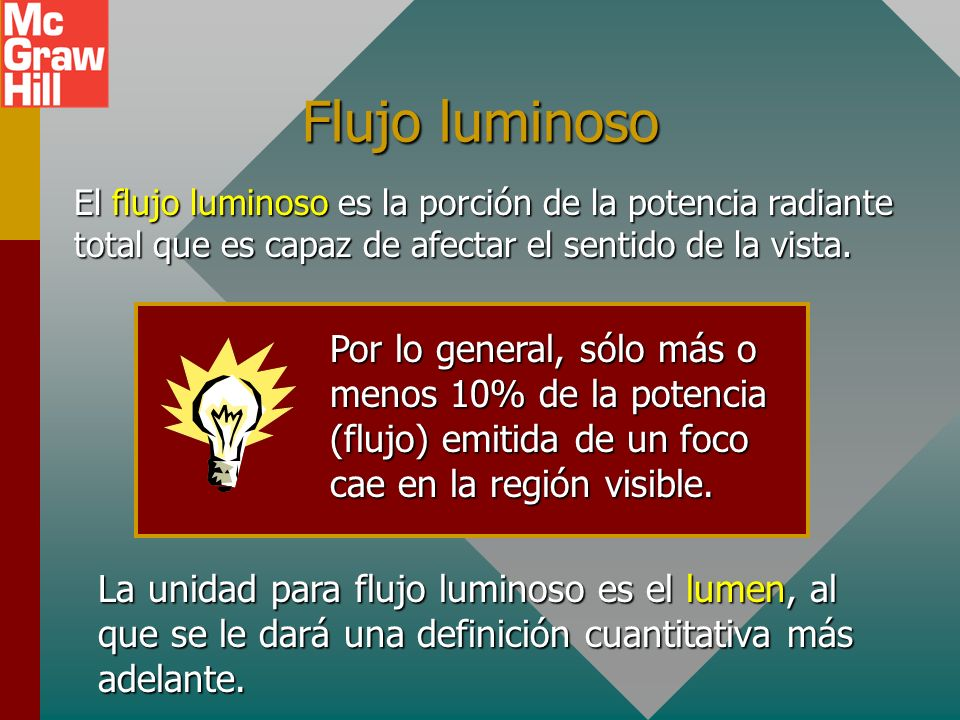 Flujo luminosoEl flujo luminoso es la porción de la potencia radiante total que es capaz de afectar el sentido de la vista.