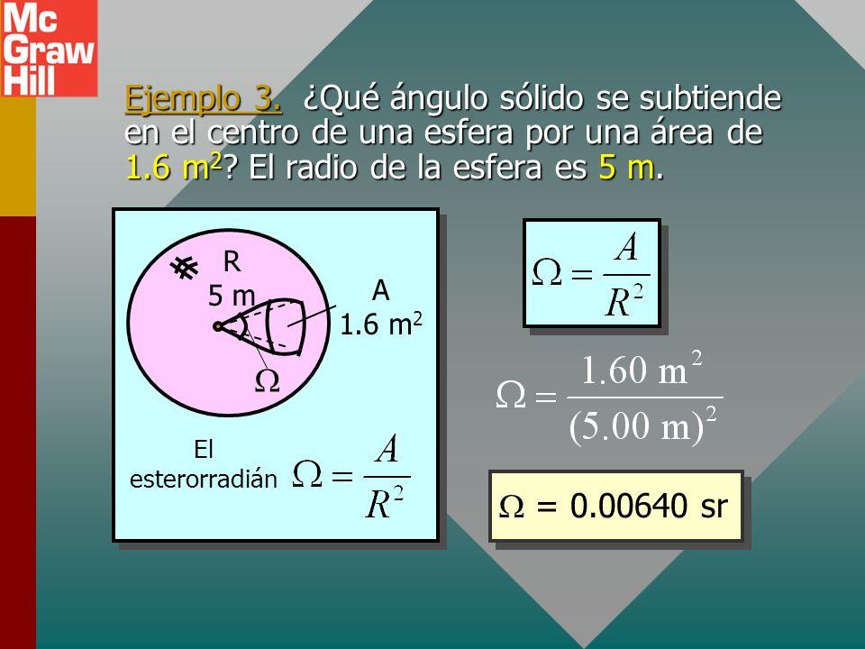 Ejemplo 3. ¿Qué ángulo sólido se subtiende en el centro de una esfera por una área de 1.6 m2 El radio de la esfera es 5 m.