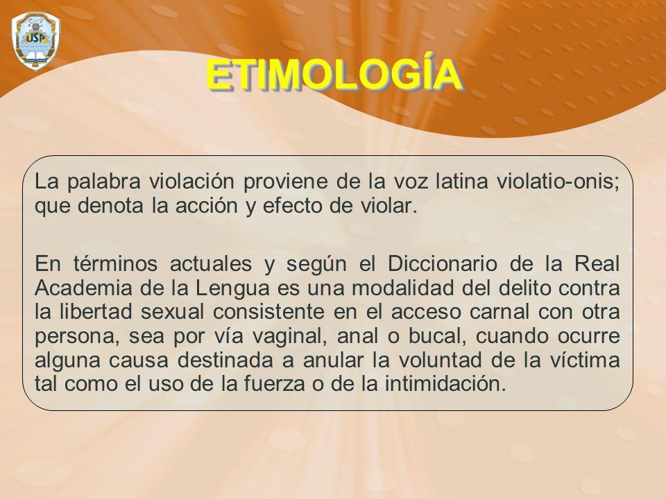 ETIMOLOGÍA La palabra violación proviene de la voz latina violatio-onis; que denota la acción y efecto de violar.