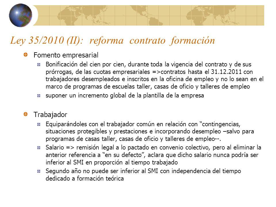 Ley 35/2010 (II): reforma contrato formación