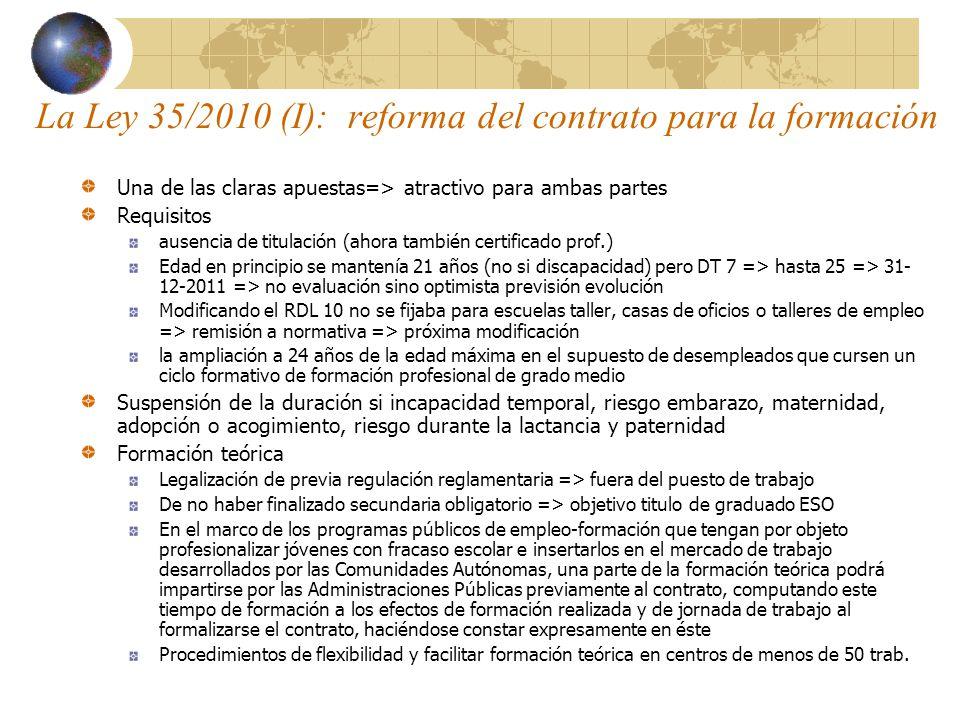 La Ley 35/2010 (I): reforma del contrato para la formación