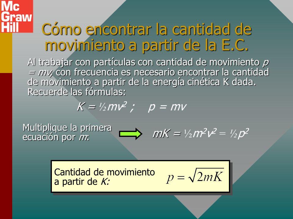 Cómo encontrar la cantidad de movimiento a partir de la E.C.