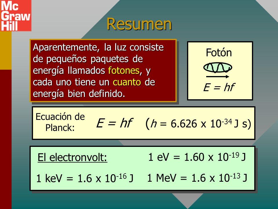 Resumen E = hf (h = 6.626 x 10-34 J s) Fotón E = hf