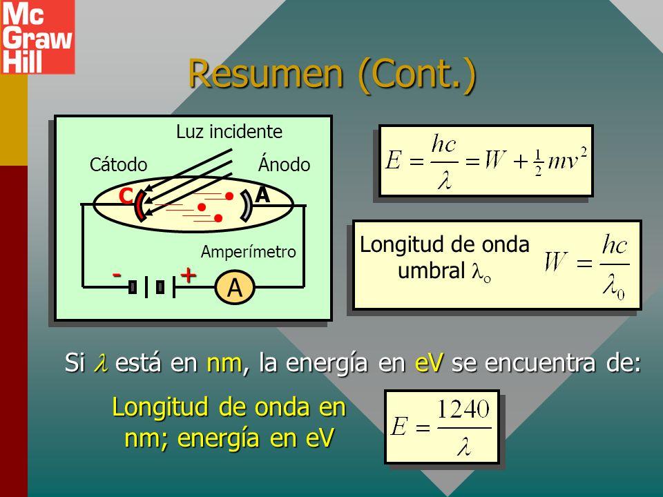 Resumen (Cont.) Cátodo. Ánodo. Luz incidente. Amperímetro. + - A. C. Longitud de onda umbral lo.