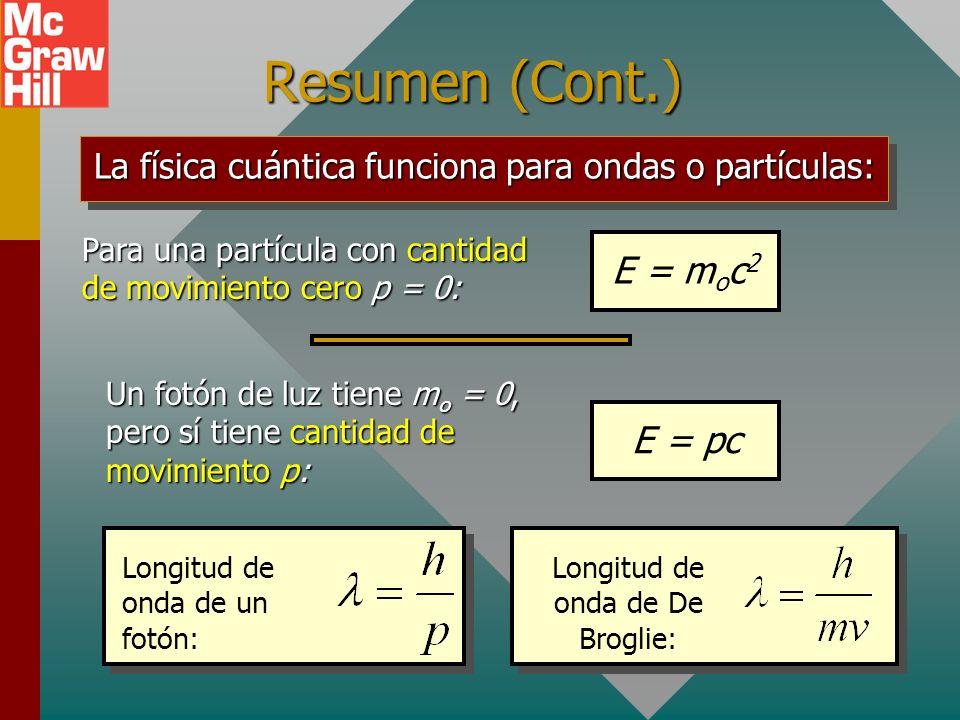 Resumen (Cont.) E = moc2 E = pc