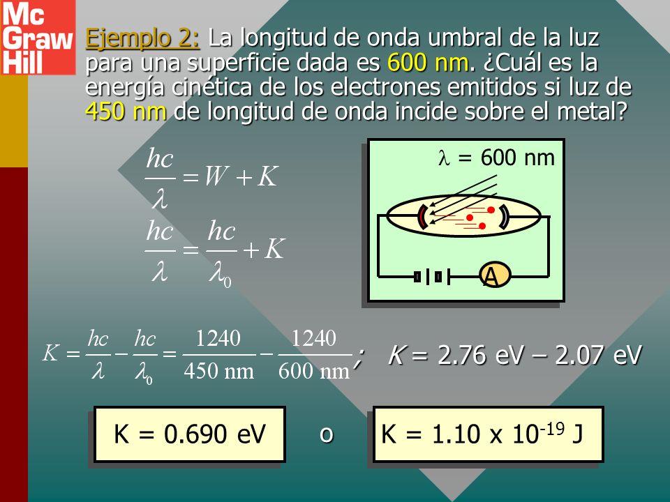 Ejemplo 2: La longitud de onda umbral de la luz para una superficie dada es 600 nm. ¿Cuál es la energía cinética de los electrones emitidos si luz de 450 nm de longitud de onda incide sobre el metal
