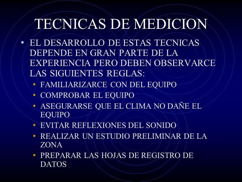TECNICAS DE MEDICION EL DESARROLLO DE ESTAS TECNICAS DEPENDE EN GRAN PARTE DE LA EXPERIENCIA PERO DEBEN OBSERVARCE LAS SIGUIENTES REGLAS: