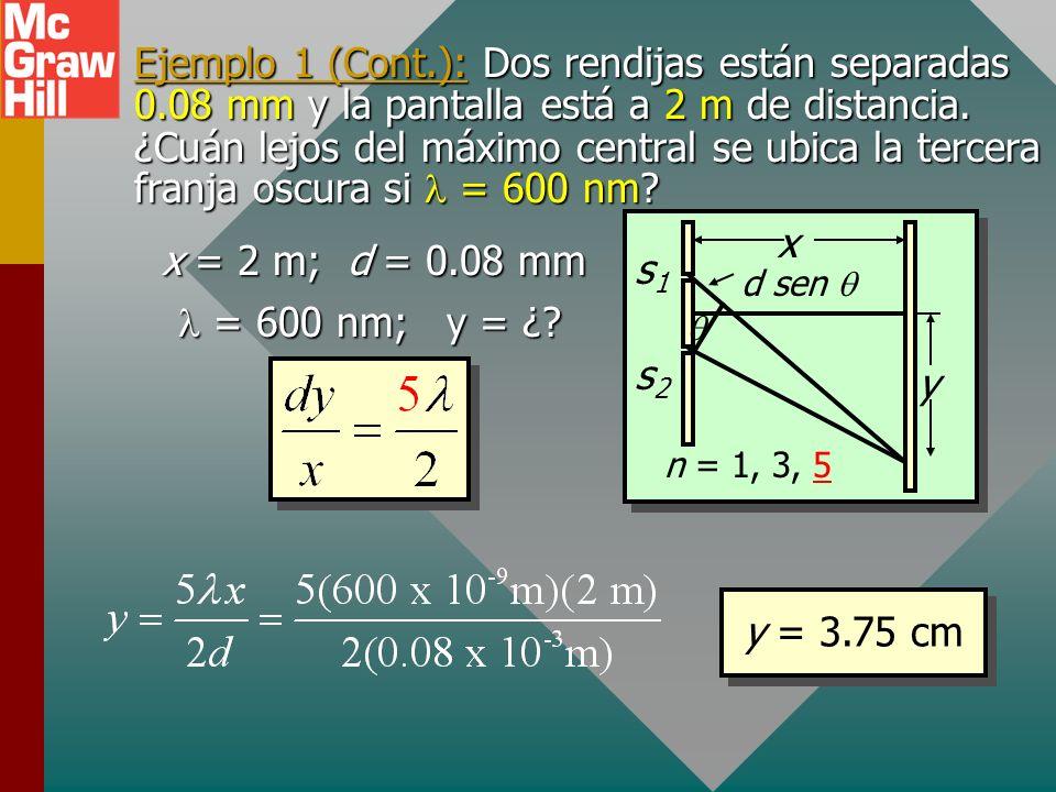 Ejemplo 1 (Cont. ): Dos rendijas están separadas 0