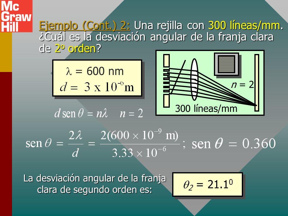 La desviación angular de la franja clara de segundo orden es:
