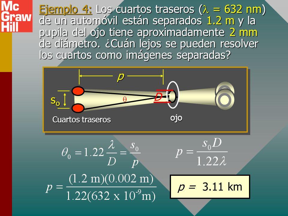 Ejemplo 4: Los cuartos traseros (l = 632 nm) de un automóvil están separados 1.2 m y la pupila del ojo tiene aproximadamente 2 mm de diámetro. ¿Cuán lejos se pueden resolver los cuartos como imágenes separadas