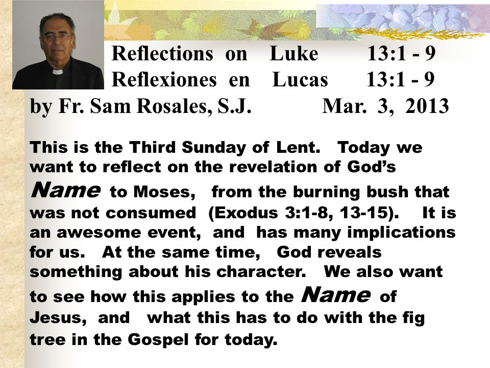 Reflexiones en Lucas 13:1 - 9 by Fr. Sam Rosales, S.J. Mar. 3, 2013
