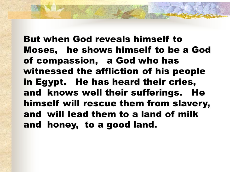 But when God reveals himself to Moses, he shows himself to be a God of compassion, a God who has witnessed the affliction of his people in Egypt.