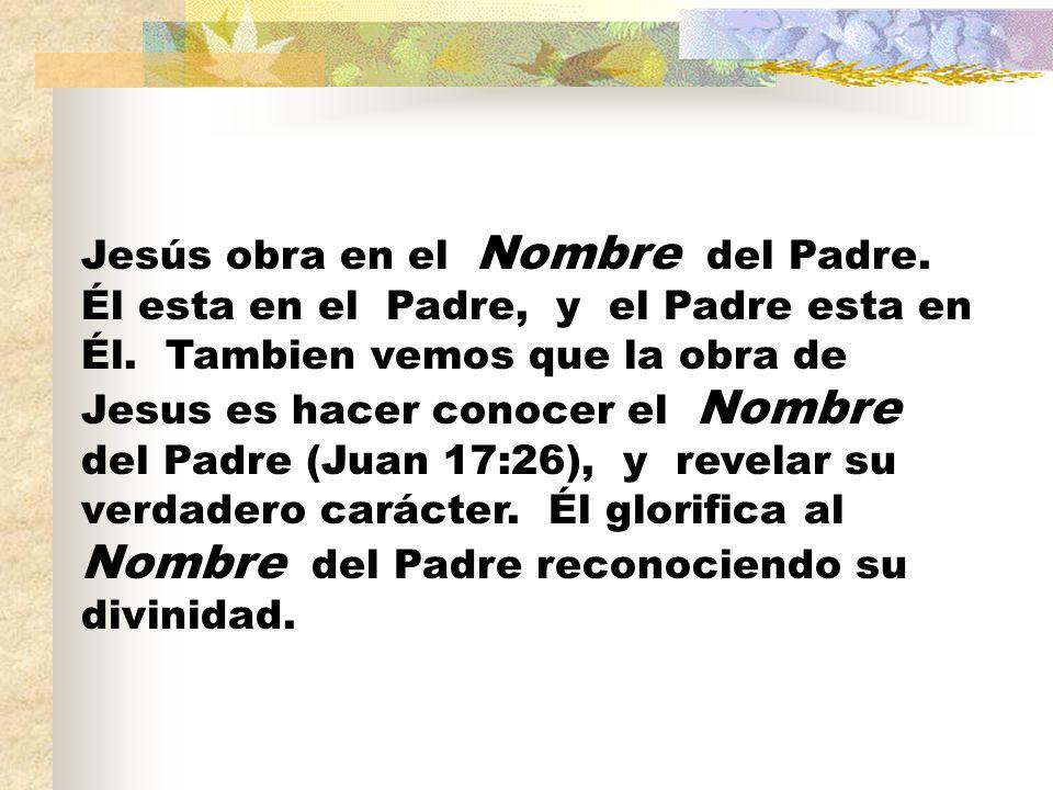 Jesús obra en el Nombre del Padre