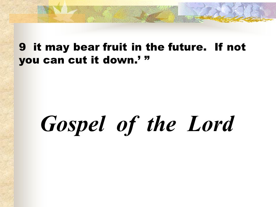 9 it may bear fruit in the future. If not you can cut it down.'